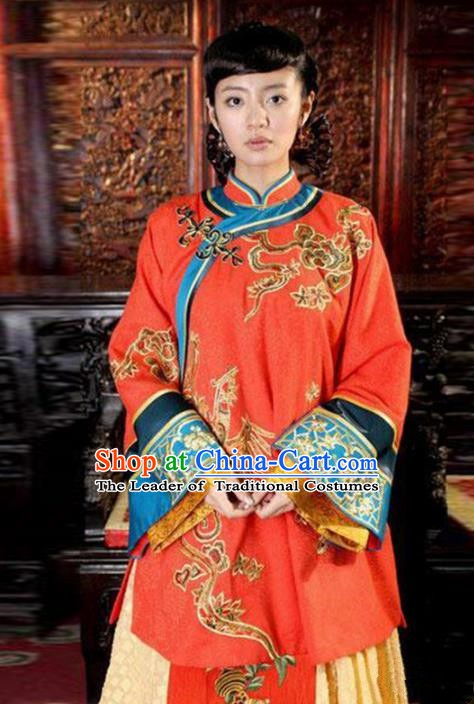 Traditional Chinese Ancient Qing Dynasty Young Mistress Embroidered Red Xiuhe Suit Clothing for Women