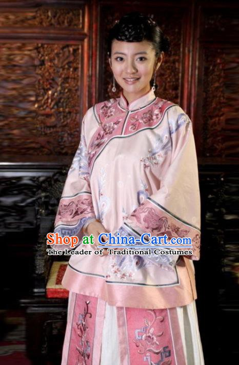 Traditional Chinese Ancient Qing Dynasty Young Mistress Embroidered Pink Xiuhe Suit Clothing for Women