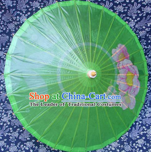 Handmade China Traditional Folk Dance Umbrella Stage Performance Props Umbrellas Printing Green Oil-paper Umbrella