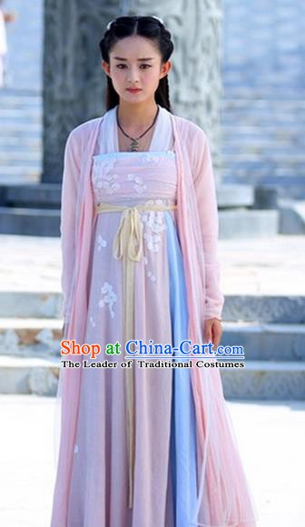 Traditional Chinese Ancient Tang Dynasty Palace Princess Embroidered Costume for Women