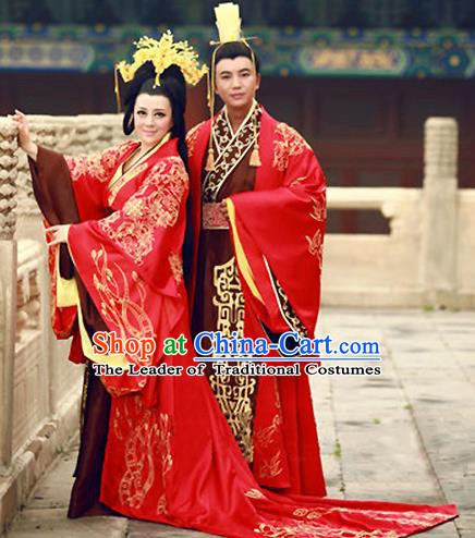 Traditional Chinese Ancient Han Dynasty Imperial Emperor and Empress Embroidered Wedding Clothing Complete Set