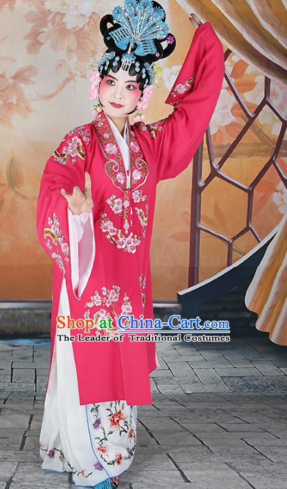 Chinese Beijing Opera Actress Princess Embroidered Peach Pink Costume, China Peking Opera Diva Embroidery Clothing