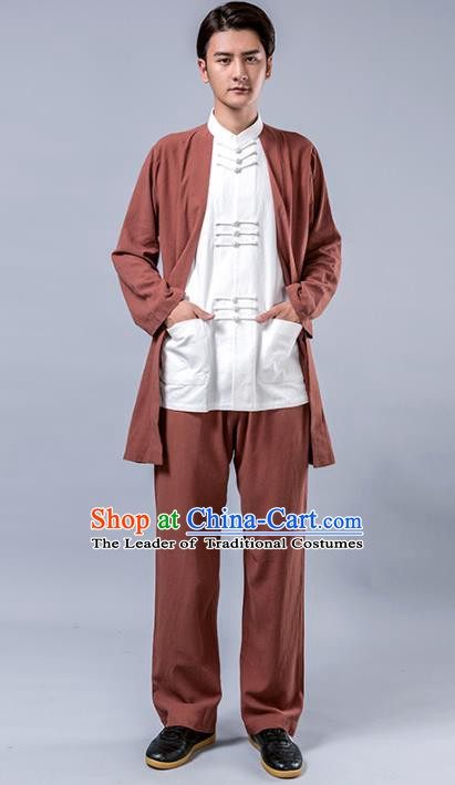 Top Grade Chinese Kung Fu Costume Tai Ji Training Brown Linen Uniform, China Martial Arts Tang Suit Gongfu Clothing for Men