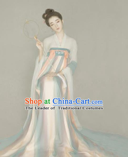 Asian Chinese Ancient Palace Princess Costume Tang Dynasty Young Lady Embroidered Clothing