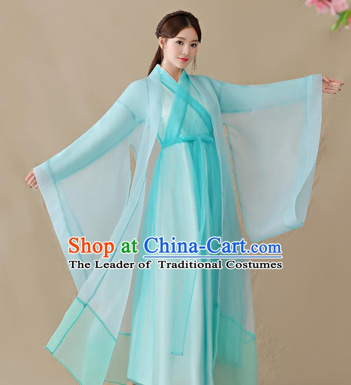 Traditional Chinese Han Dynasty Swordswoman Costume, China Ancient Fairy Hanfu Dress Clothing for Women