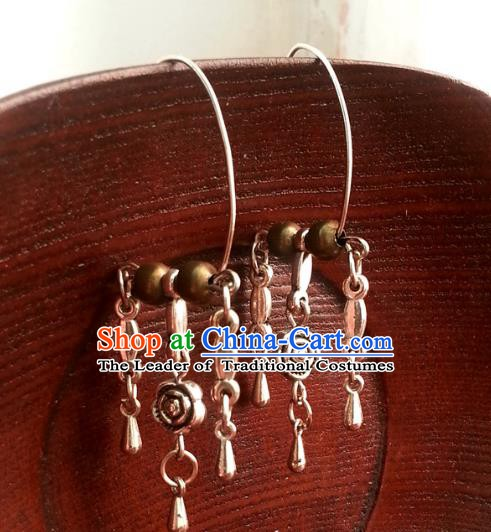 Traditional Handmade Chinese Ancient Princess Accessories Tassel Earrings for Women