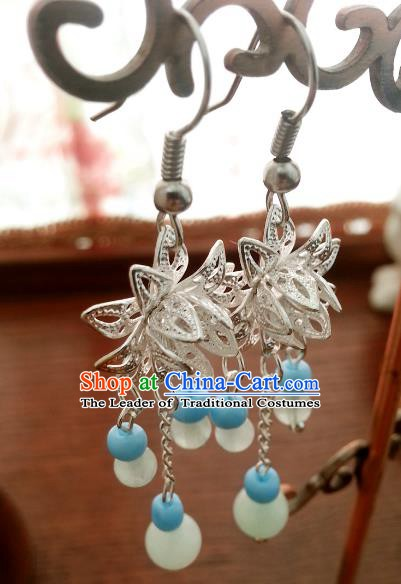 Traditional Handmade Chinese Ancient Princess Accessories Classical Lotus Tassel Earrings for Women