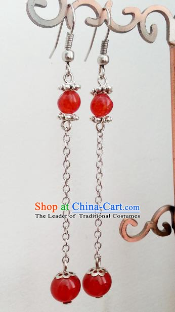 Traditional Handmade Chinese Ancient Princess Hanfu Eardrop Accessories Classical Red Beads Tassel Earrings for Women