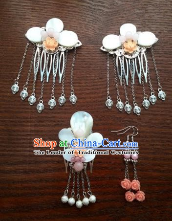 Traditional Handmade Chinese Ancient Classical Hair Accessories Shell Hairpins Hair Combs for Women