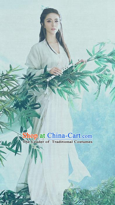 Chinese Ancient Young Lady Embroidered Costume, China Tang Dynasty Fairy Clothing for Women
