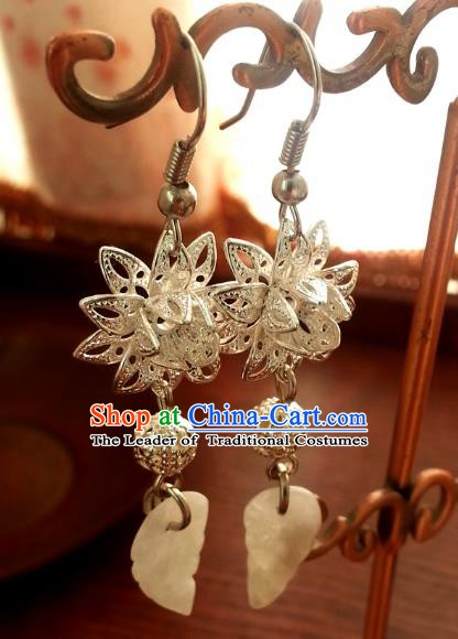 Traditional Chinese Handmade Ancient Princess Hanfu Lotus Eardrop Classical Palace Lady Earrings for Women