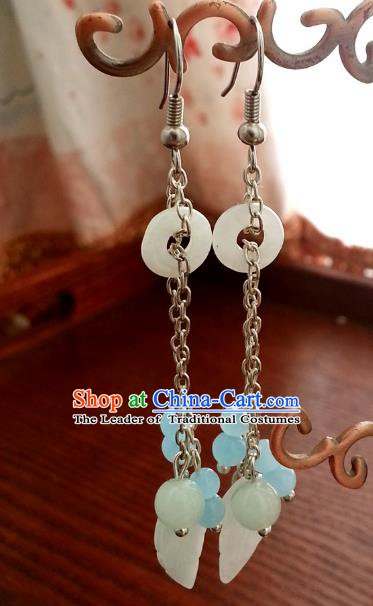 Traditional Chinese Handmade Shell Eardrop Ancient Palace Queen Hanfu Classical Earrings for Women