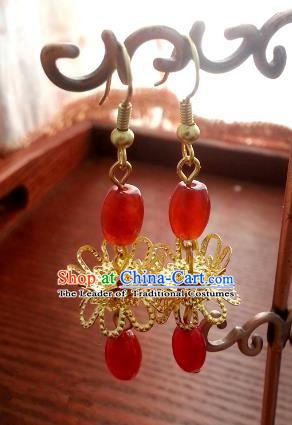Traditional Chinese Handmade Golden Lotus Eardrop Ancient Palace Queen Hanfu Classical Earrings for Women