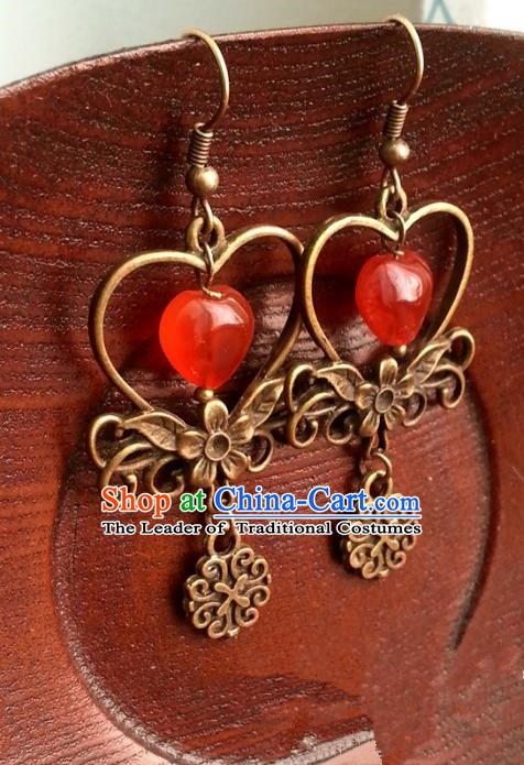 Traditional Chinese Handmade Classical Bronze Eardrop Ancient Palace Queen Hanfu Earrings for Women