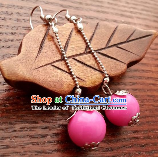 Traditional Chinese Handmade Classical Pink Bead Eardrop Ancient Palace Queen Hanfu Earrings for Women