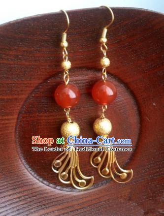 Traditional Chinese Handmade Classical Red Bead Phoenix Eardrop Ancient Palace Queen Hanfu Earrings for Women
