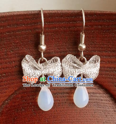 Traditional Chinese Handmade Classical Bowknot Eardrop Ancient Palace Queen Hanfu Earrings for Women