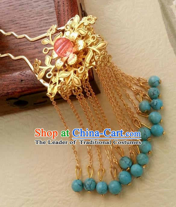 Traditional Chinese Handmade Classical Hair Accessories Golden Tassel Step Shake Ancient Hanfu Hairpins for Women