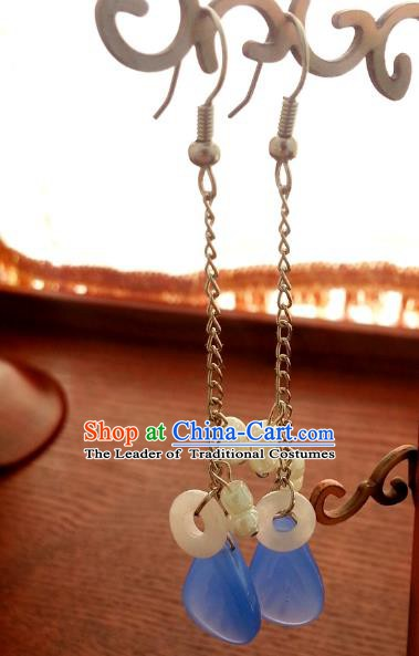 Traditional Chinese Handmade Classical Blue Eardrop Ancient Palace Queen Hanfu Earrings for Women