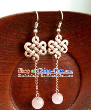 Traditional Chinese Handmade Classical Hanfu Chinese Knots Eardrop Ancient Palace Queen Earrings for Women