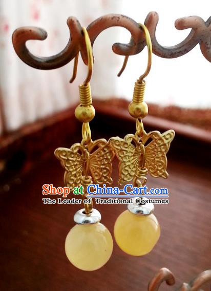 Traditional Chinese Handmade Classical Hanfu Butterfly Eardrop Ancient Palace Queen Earrings for Women
