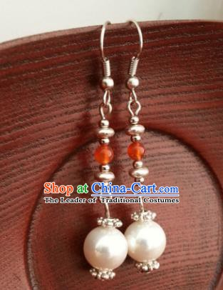 Traditional Chinese Handmade Classical Hanfu Eardrop Ancient Palace Queen Pearls Earrings for Women