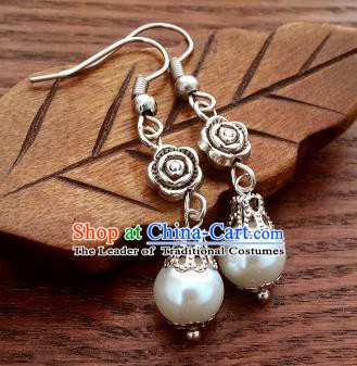 Traditional Chinese Handmade Classical Hanfu Rose Pearls Eardrop Ancient Palace Princess Earrings for Women