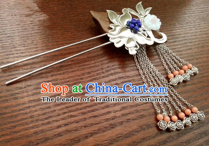 Handmade Traditional Chinese Classical Hair Accessories Ancient Hanfu Hairpins Wedding Tassel Hair Clip for Women