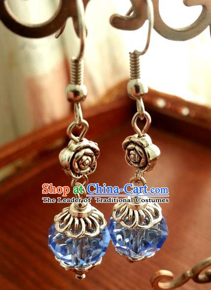 Asian Chinese Traditional Handmade Classical Hanfu Blue Eardrop Ancient Palace Princess Earrings for Women