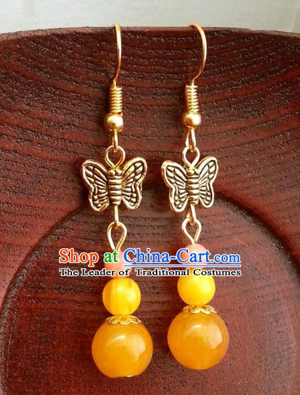 Asian Chinese Traditional Handmade Classical Hanfu Orange Beads Eardrop Ancient Palace Princess Earrings for Women