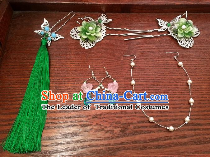 Handmade Traditional Chinese Classical Hair Accessories Ancient Bride Hanfu Butterfly Hairpins Step Shake for Women