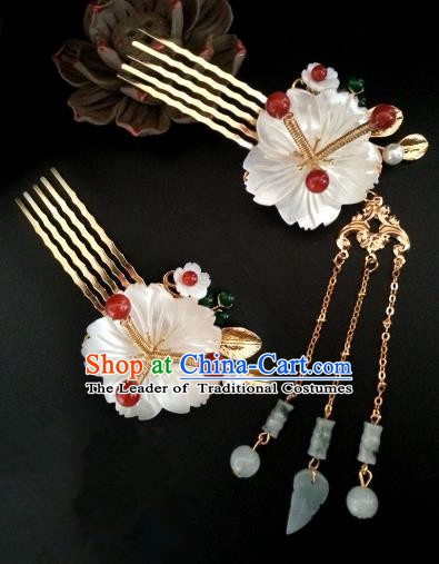Handmade Traditional Chinese Classical Hair Accessories Ancient Bride Hanfu Shell Hair Comb Hairpins for Women