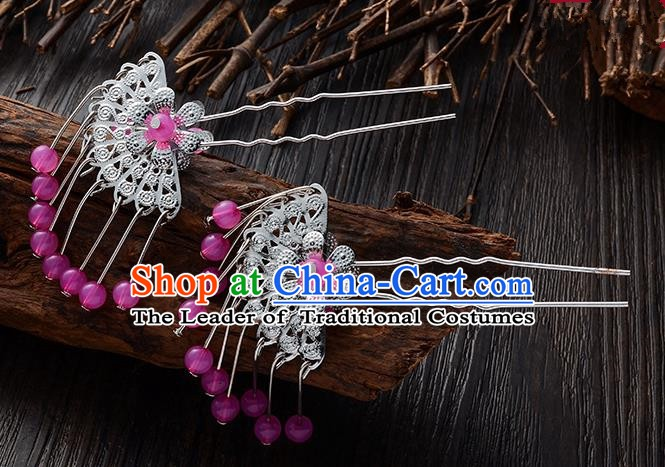 Handmade Asian Chinese Classical Hair Accessories Ancient Purple Beads Tassel Hairpins Headwear for Women
