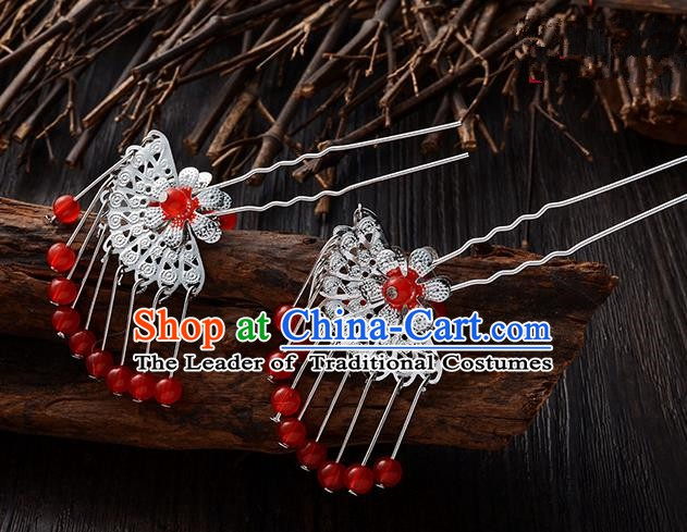 Handmade Asian Chinese Classical Hair Accessories Ancient Red Beads Tassel Hairpins Headwear for Women