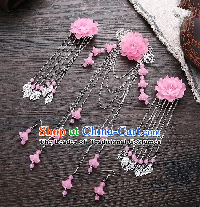 Handmade Asian Chinese Classical Hair Accessories Ancient Pink Flower Hair Stick Hairpins for Women