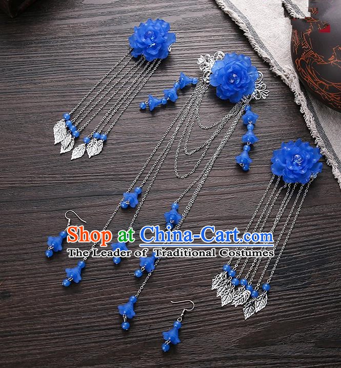 Handmade Asian Chinese Classical Hair Accessories Ancient Deep Blue Flower Hair Stick Hairpins for Women