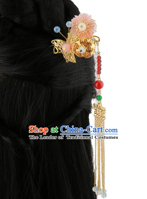 Asian Chinese Handmade Palace Lady Classical Hair Accessories Tassel Hairpins for Women