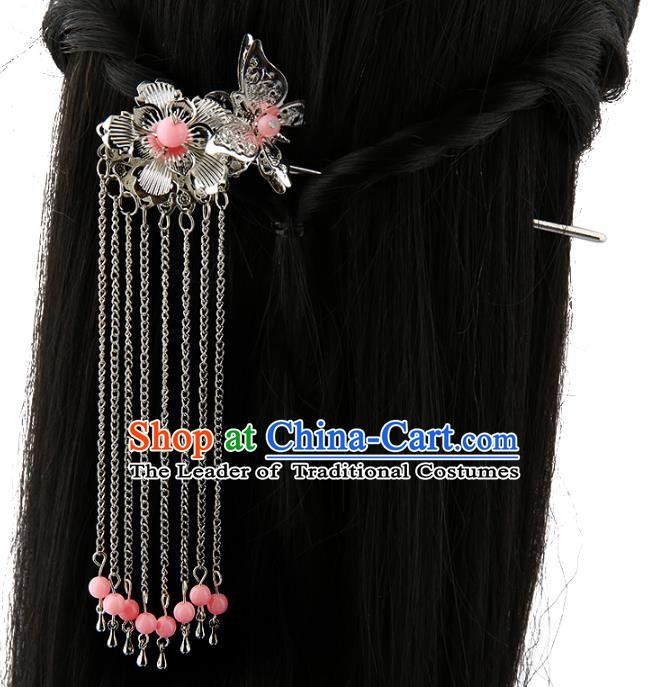 Asian Chinese Handmade Palace Lady Classical Hair Accessories Butterfly Tassel Hairpins for Women
