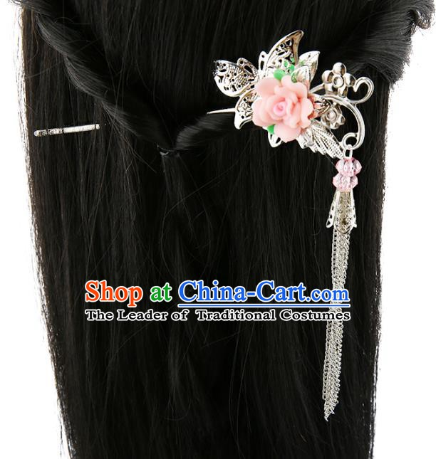 Asian Chinese Handmade Palace Lady Classical Hair Accessories Butterfly Flower Tassel Hairpins for Women