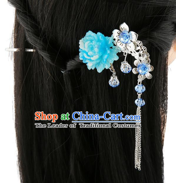 Asian Chinese Handmade Palace Lady Classical Hair Accessories Blue Flower Tassel Hairpins for Women