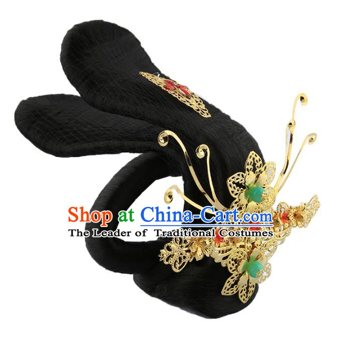 Asian Chinese Handmade Palace Lady Classical Hair Accessories Wig and Hairpins for Women