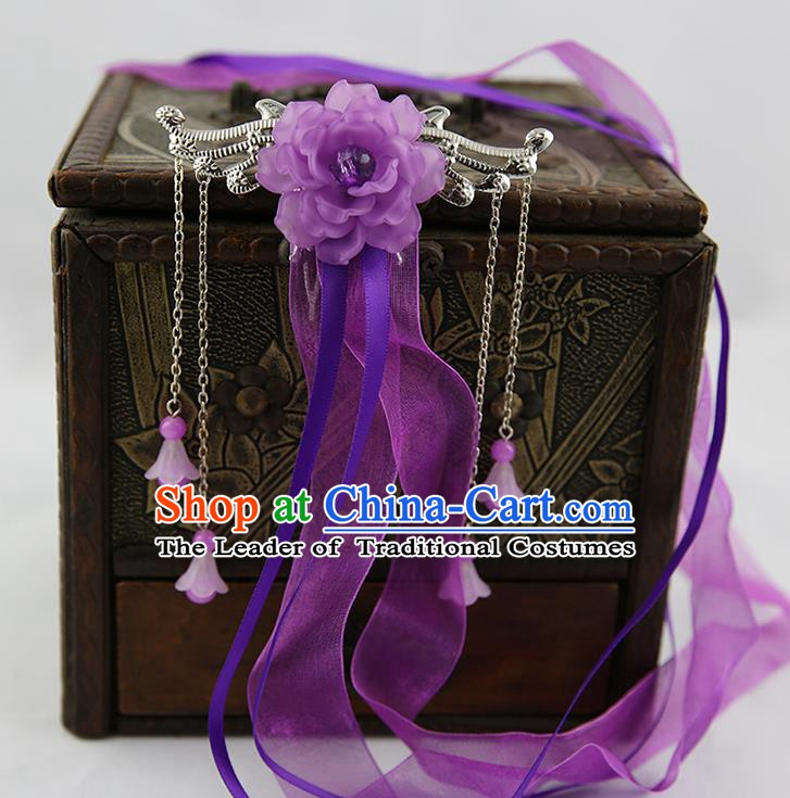 Asian Chinese Handmade Palace Lady Classical Hair Accessories Purple Silk Ribbon Hairpins Headwear for Women
