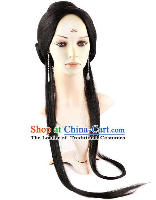 Asian Chinese Handmade Classical Hair Accessories Palace Lady Wig Sheath Chignon for Women