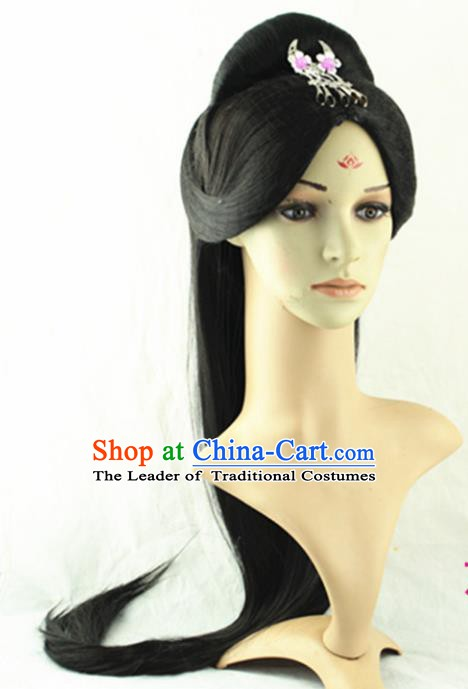 Asian Chinese Handmade Classical Hair Accessories Palace Lady Wig Sheath and Hairpins for Women