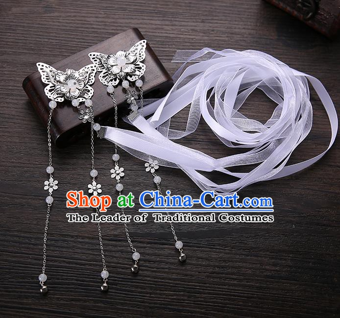 Handmade Asian Chinese Classical Hair Accessories White Silk Ribbon Butterfly Hairpins Hanfu Hair Claw for Women