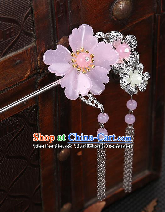 Handmade Asian Chinese Classical Hair Accessories Pink Flower Hairpins Hanfu Tassel Step Shake for Women