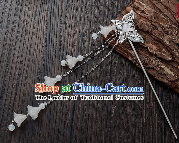 Handmade Asian Chinese Classical Hair Accessories Butterfly Hairpins Hanfu White Tassel Step Shake for Women