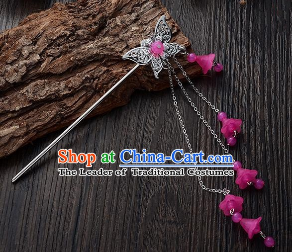 Handmade Asian Chinese Classical Hair Accessories Butterfly Hairpins Hanfu Rosy Tassel Step Shake for Women