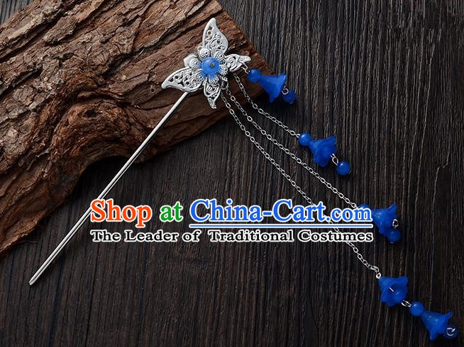 Handmade Asian Chinese Classical Hair Accessories Butterfly Hairpins Hanfu Deep Blue Tassel Step Shake for Women
