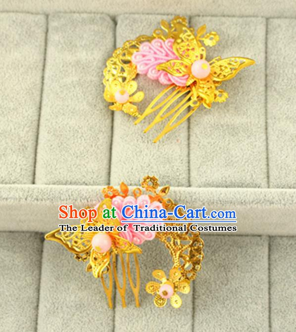 Asian Chinese Handmade Classical Hair Accessories Princess Hairpins Pink Butterfly Hair Comb for Women